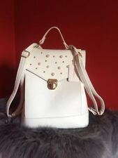 Primark Ladies White Studded Backpack Womens Bag New