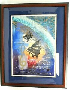 "Annabel Hewitt Musical Monotype ""Concerto IV"" Framed Art Piano, Clefs, Notes"