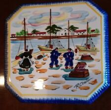 Vintage Breton MBFA hand painted faience pot stand or wall plaque. St. Lunaire.