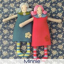 Minnie Rag Doll - Sewing Craft A5 Creative Card PATTERN - Soft Toy Doll Bear