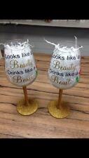 """""""Looks Like A Beauty Drinks Like A Beast"""" Large Glitter Wine Glass Gift Present"""