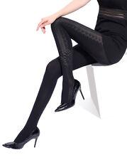 Panty Transparente Negro Opaco Motivo Encaje Jacquard Pantyhose SEXY MEDIAS