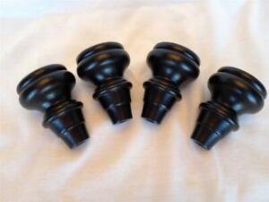 """Black Turned Bun Tulip Mini Wood Sofa Couch Chair Furniture Leg Feet 3.5"""", 4Legs"""