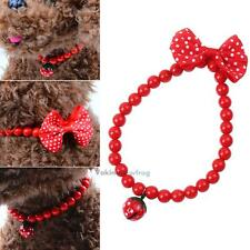 Pearls Bell Bowknot Rhinestone Dog Cat Pet Collar Necklace Pendant Jewelry Red
