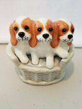 King Charles Spaniel Dogs in Basket Trinket Box Fitz and Floyd 1979