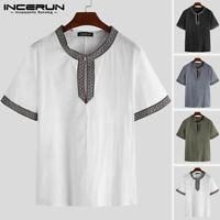 INCERUN Mens Linen Short Sleeve Shirt V-Neck Grandad Beach Causal Blouse Tops UK