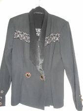 Peplum Style Black Evening Jacket with Gold Embroidery, Size 10