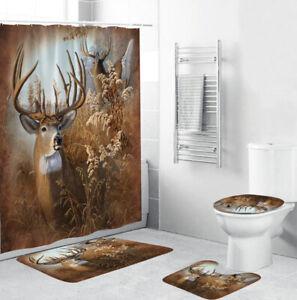 Deer Bathroom Rug Set Shower Curtain Thick Bath Mat Non-Slip Toilet Lid Cover