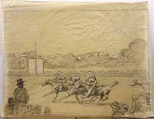 MARCHAND, André (1877-1951) Dessin Original Course Hippique Chevaux de Courses