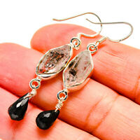 "Herkimer Diamond, Black Onyx 925 Sterling Silver Earrings 2"" Jewelry E407173F"