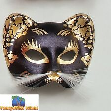 MASQUERADE EGYPTIAN BLACK/GOLD CAT MASK Womens Fancy Dress Costume Accessory