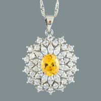Cluster Blume Oval Gelb Citrin 18K Weissgold Vergoldet Anhaenger Halskette