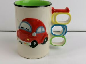 Vintage Coffee cup Knuckle Duster Mug 1960 VW BEATTLE ring for fingers holder