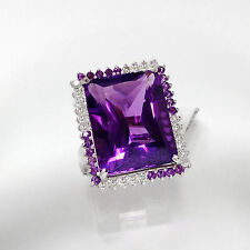 42.60Ct Genuine Natural Mined Amethyst And Diamond Ring In Solid 14K White Gold.