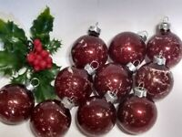 Vintage Christmas Ornament lot of 10 Mercury Glass Balls RAUCH BURGUNDY RED