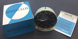 Vintage Westclox Alarm Clock,Metal, Blue, Mechanical, Scotland, New Old Stock