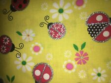 Lady Bugs W/ Sparkles Fabric Scrap Quilt Sew Craft