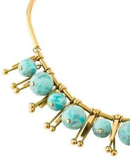 Lele Sadoughi Turquoise Bead Glass Necklace Gold Tone Choker Bib NEW