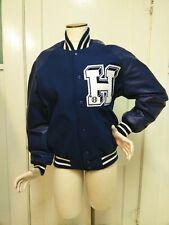 ROYAL Blue Wool Varsity Letterman Bomber Jacket with H patch football baseball