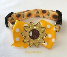 Choose To Shine Sunflower Dog Collar Size XS-L by Doogie Couture