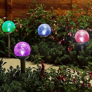 4 x Colour Changing Solar Led Crackle Ball Light Ice Orb Globe Stainless Steel