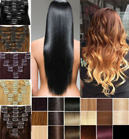 Long Straight/Curly/Wavy 7 Pieces full head Hair Extensions 15 clips in Hair HOT