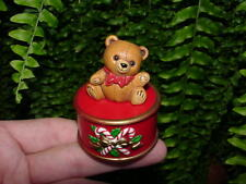 Teddy Bear On Drum - 1982 Hallmark Christmas Merry Miniature - container