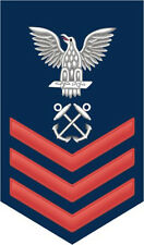 "Boatswain's Mate BM Navy 1st Class E-6 Red 5.5"" Rank Sticker / Decal"