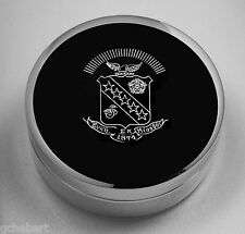 Sigma Kappa, ΣΚ,  Small Jewelry/Pin Box Engraved Crest Silver Plate By McCartney