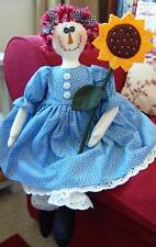 PRIMITIVE FOLK ART SEWING PATTERN 'ANNIE RAG DOLL & SUNFLOWER