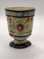 Vintage Japanese Majolica Vase Lotus Flower Design 4x4 Inches
