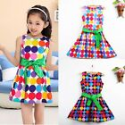For 4-9Y Kids Girls Pageant Polka Dot Party Cotton Top Dress Sundress with Belt