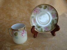 Hermann Ohme Silesia Cup & Saucer Set Pink Roses Gold Trim  CA 1900-1920