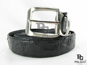 "PELGIO Genuine Crocodile Alligator Backbone Skin Leather Men's Belt 46"" Black"