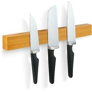 Bamboo 38cm Magnetic Knife Holder Utensil Rack Storage Strip Kitchen Knives Bar