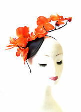 Large Orange Black Orchid Flower Fascinator Headpiece Races Hair Headband 1470