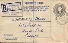 1954 GB QEII REGISTERED LETTER CRANBORNE WIMBORNE DORSET TO CARDIFF NOVEMBER