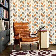 Vintage Retro 70s Geometric Stripe Leaf Grey Orange Vinyl Wallpaper
