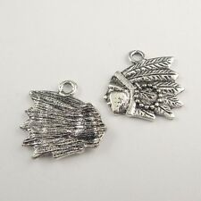 40PCS Antiqued Silver Retro Style Indian Head Charm Pendant 21*17*1mm