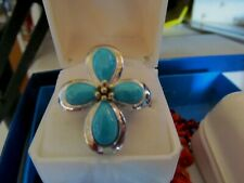 .925 Sterling Silver Large Ring Signed EA TURQUOISE Cross SZ 9 EXCELLENT