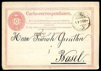 SWITZERLAND, LENZBURG TO BASEL Postal Stationery 1871, VF