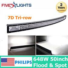 7D TRI ROW 50INCH 648W CURVED LED LIGHT BAR SLIM FOR OFFROAD BOAT SUV ATV JEEP