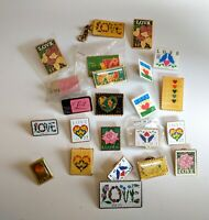 VTG 22 Love USPS Postage Stamp Metal Plastic Lapel Pin Lot Post Office Rare