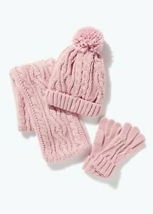 Girls Pink Cable Knit Hat Scarf & Gloves Set (3-13yrs)