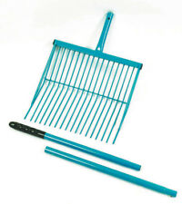 NEW 3 Piece Metal Stable Fork rake mulch shavings horse cows farm FREE POSTAGE
