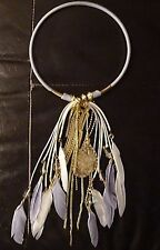 BUTLER & WILSON (QVC) FABRIC STRAND FEATHER & CRYSTALS TASSELS NECKLACE - GREY