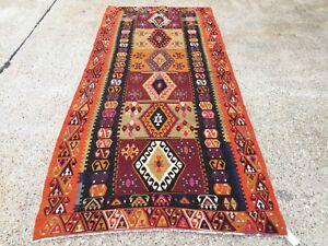 Vintage Turkish Kilim Kelim Rug 256x116 cm shabby chic wool, country home, boho