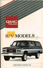 1991 GMC SUBURBAN/V-JIMMY/CREW PickUp Truck Owners Manual {brochure info}:RV,R/V
