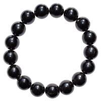 Premium CHARGED Black Tourmaline Crystal 12mm Bead Bracelet Stretchy REIKI