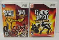 3 Game Lot Nintendo Wii / Wii U~ Guitar Hero III Rock, Aerosmith + World Tour